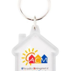 Acrylic 2 sides house key-ring components CR-Y