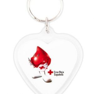 Acrylic 2 sides heart key-ring components CR-COR